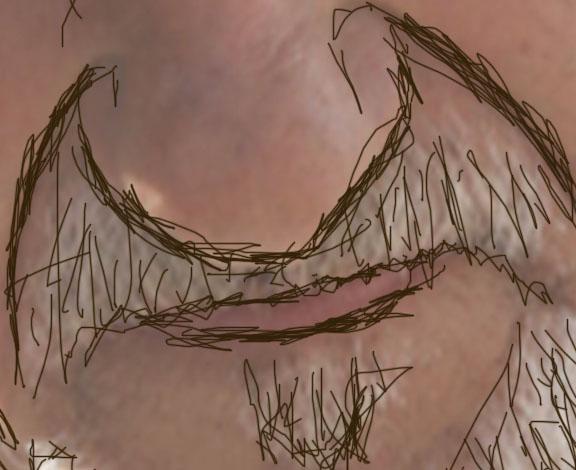水彩效果笔刷.   创建一个新图层,然后使用水彩画笔绘制,使脸