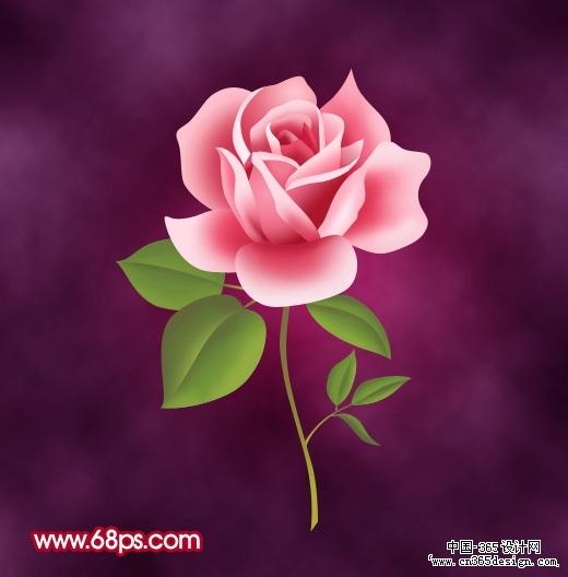 photoshop制作一朵粉红色的卡通玫瑰花