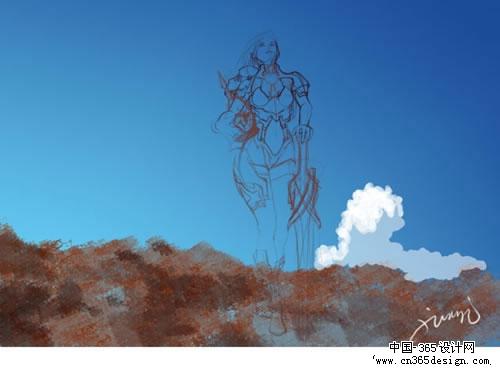 3. 50%透明度普通笔刷用白色着手刻画云彩,画出体积感.