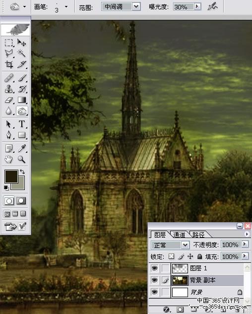 结合数位板把风景照片处理成名贵油画效果 高清图片